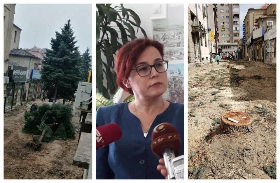 Барајте си ги одговорите во документите, им одговори битолката градоначалничка на граѓаните кои се бунеа за исечените дрвја пред Пошта