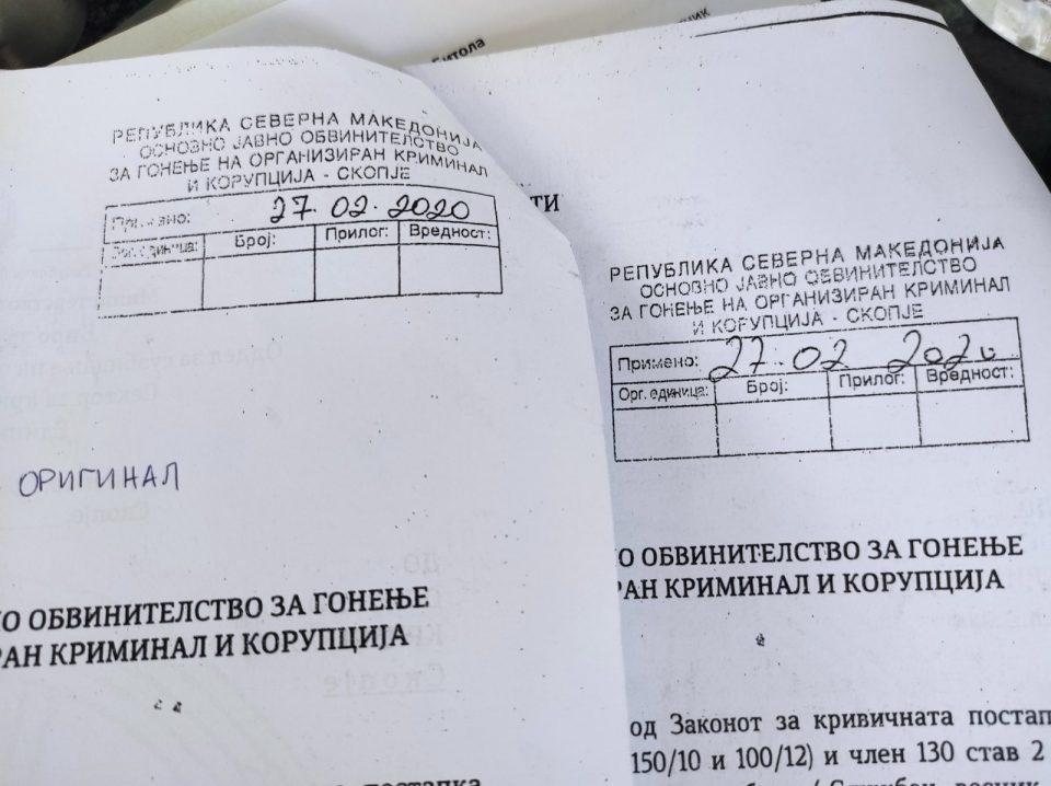 Мицкоски: Структури на МВР блиски до власта фалсификувале записник каде е избришан Вице дека барал рекет од 250 илјади евра