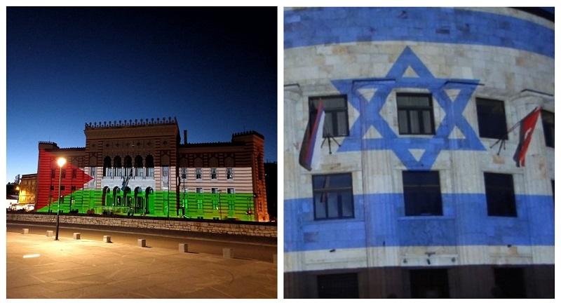БиХ поделена и во поддршката: Израелското знаме во Бања Лука, палестиското во Сараево и Мостар