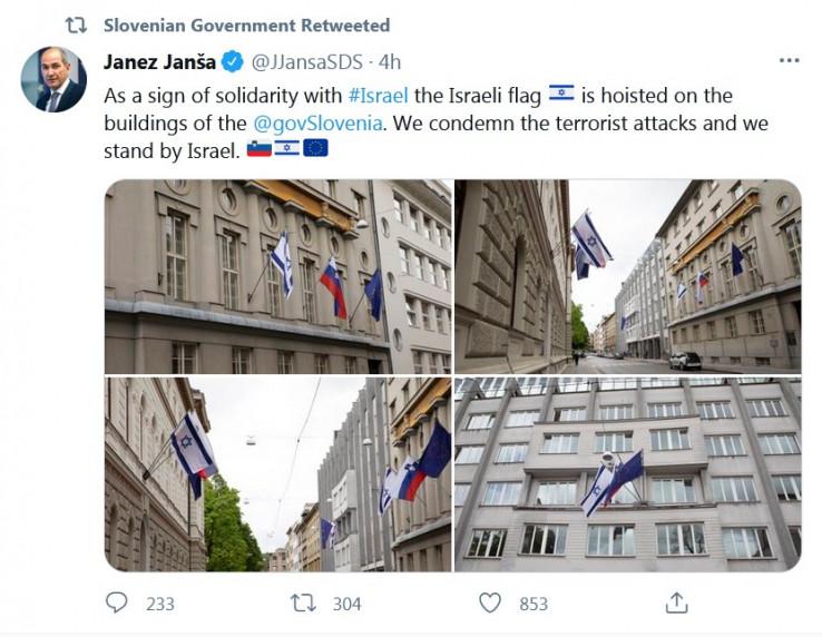 Австрија, Чешка и Словенија го поставија израелското знаме на владините згради
