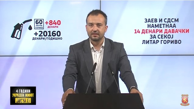 Лефков: Заради Заев на секое полнење на резервоар од 60 литри плаќате 840 денари повеќе или една просечена плата годишно