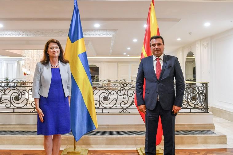 Заев- Линде: Јасна поддршка од Шведска за европските аспирации на Македонија