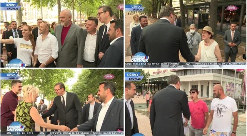 Заев му го покажа на Вучиќ Скопје 2014 – Македонците со три прста го поздравуваат српскиот претседател
