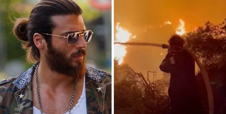 """""""Романтичарот"""" во првите редови за гаснење пожари во Турција: Актерот Ибрахим Челикол облече пожарникарска униформа"""