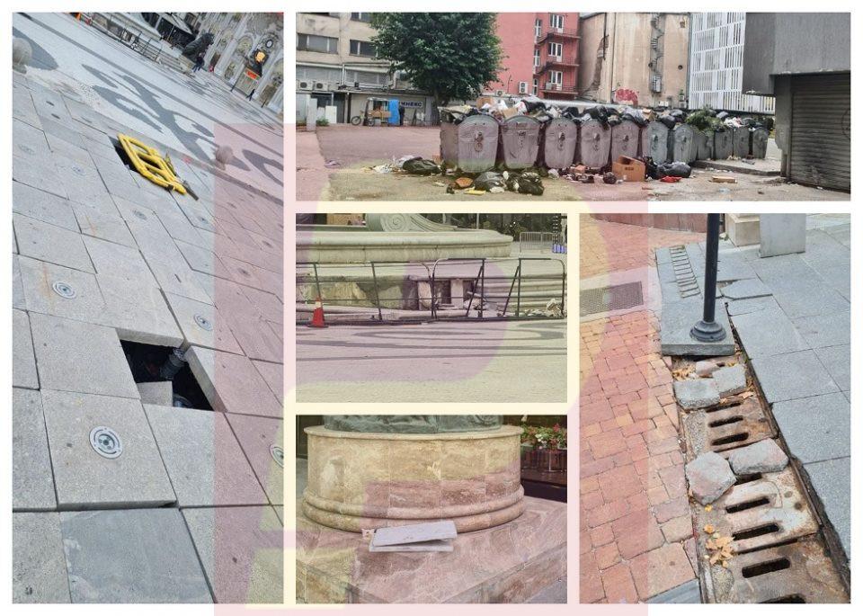 За чиј инает намерно се огрдува Скопје? Искорнати плочки, уништени фонтани, дупки, ѓубре, хаос, лудило…