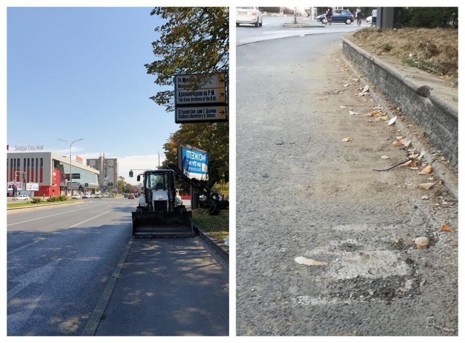 """На точак"" до Град Скопје и ""Паркови и зеленило"": Престанете да ја уништувате велосипедската патека на ""Партизанска""!"